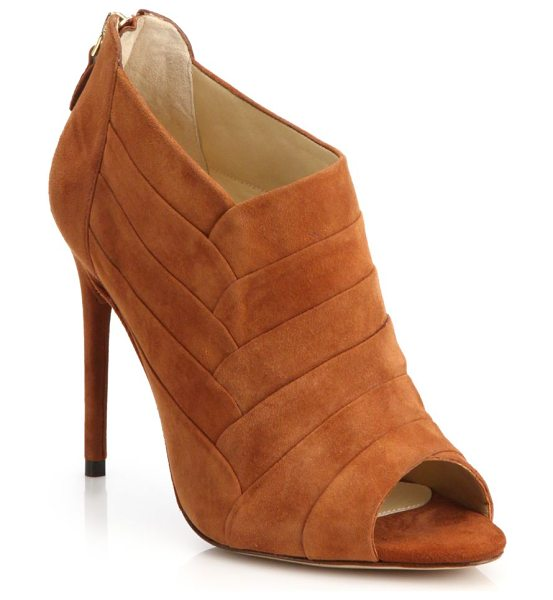 ALEXANDRE BIRMAN Petals suede peep-toe ankle booties in brown - Paneled construction lends a petal-like look to these...