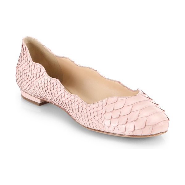 Alexandre Birman Python ballet flats in nude - A scalloped edge adds dimension to these rich python...