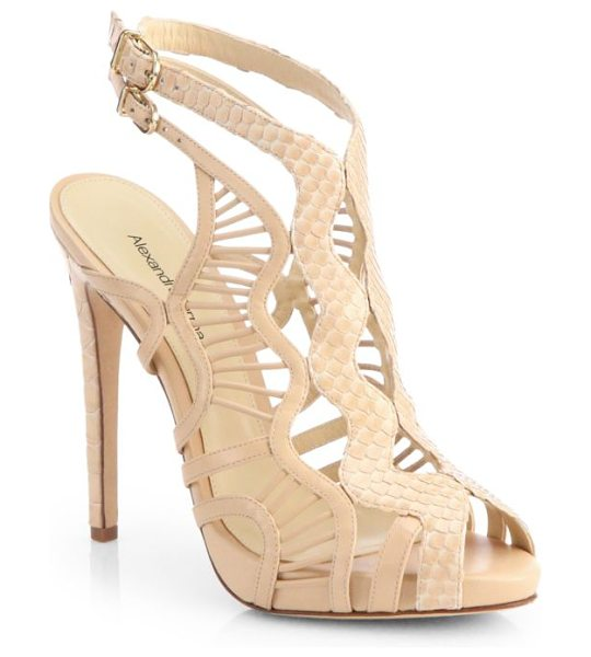 Alexandre Birman python & leather cutout sandals in nude - Smooth leather is paired with genuine python in a...