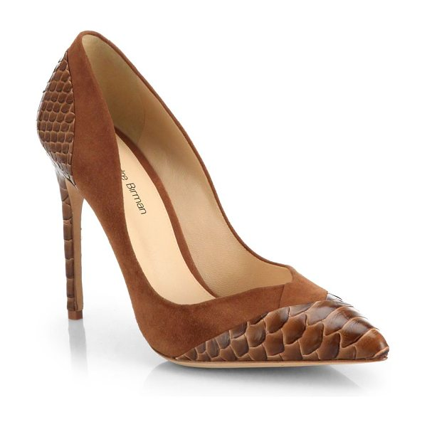 Alexandre Birman Python & suede pumps in beige - An ever-classic point-toe pump is elegantly updated in...