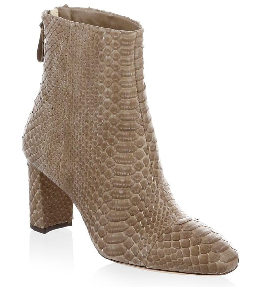 Alexandre Birman regina python chunky heel booties in taupe - Expertly crafted python breit booties sit on chunky...