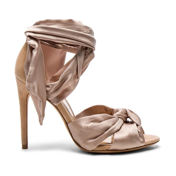 Alexandre Birman Satin Katherine Heels in neutrals - Silk satin upper with leather sole.  Made in Brazil. ...