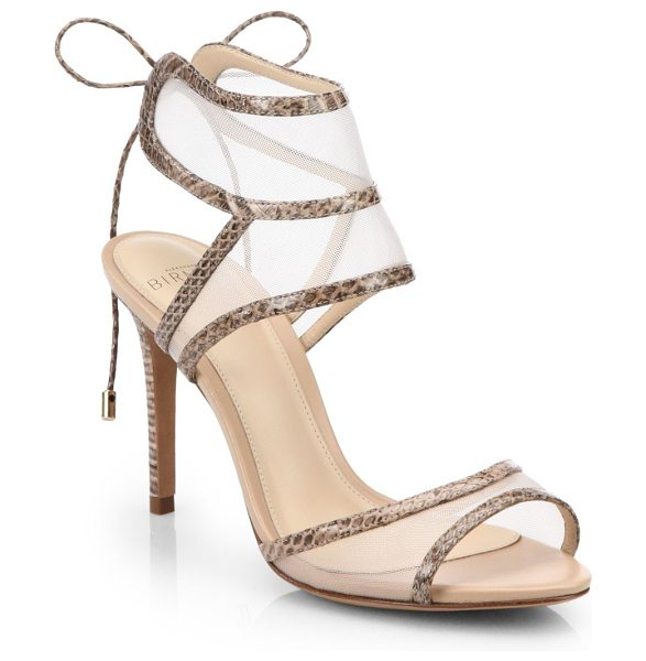 Alexandre Birman Snakeskin and mesh sandals in nude - Equal parts sultry and demure, mesh panels create the...