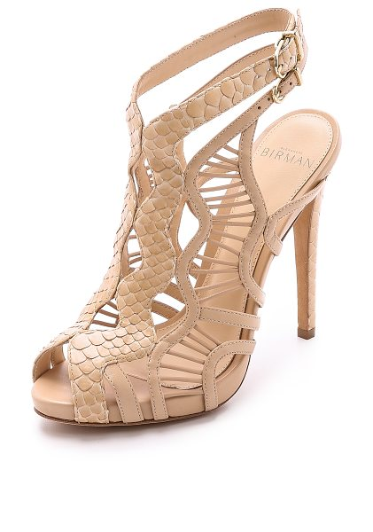 Alexandre Birman Snakeskin & leather sandals in nude - A rich combination of tactile python and smooth,...