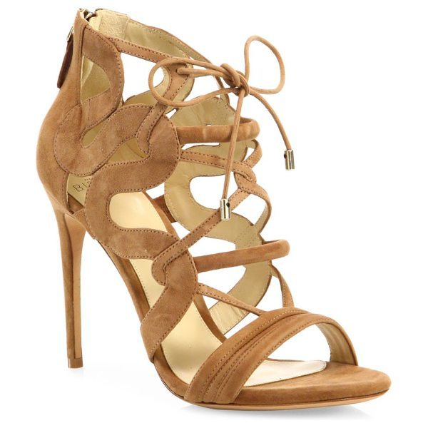 Alexandre Birman strappy suede cage sandals in beige - Sultry suede cage sandal framed with curvy sides....