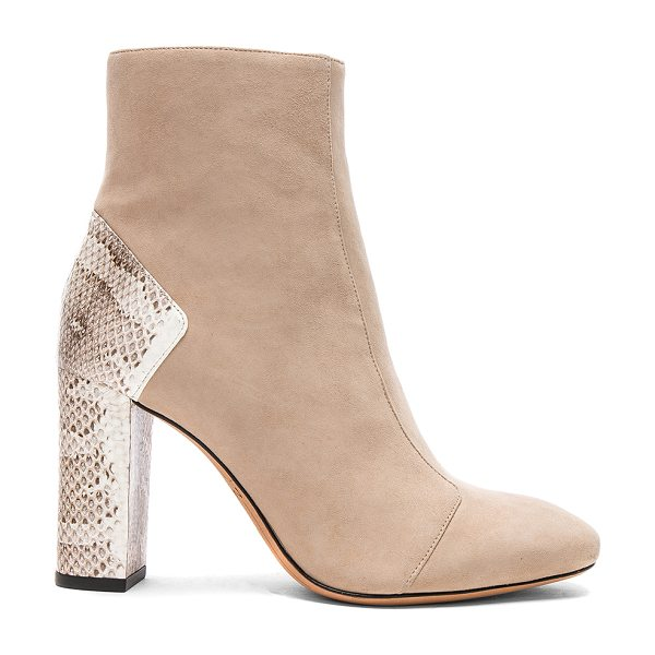 Alexandre Birman Suede Estella Python Boots in balm & natural - Suede upper with leather sole. Made in Brazil. Shaft...