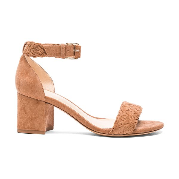 Alexandre Birman Suede Pauline Heel Sandals in neutrals - Suede upper with leather sole.  Made in Brazil.  Approx...