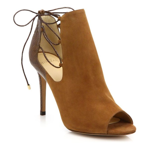 ALEXANDRE BIRMAN Suede & watersnake peep-toe booties - Sleek with a subtle hint of bohemian vibes, this suede...