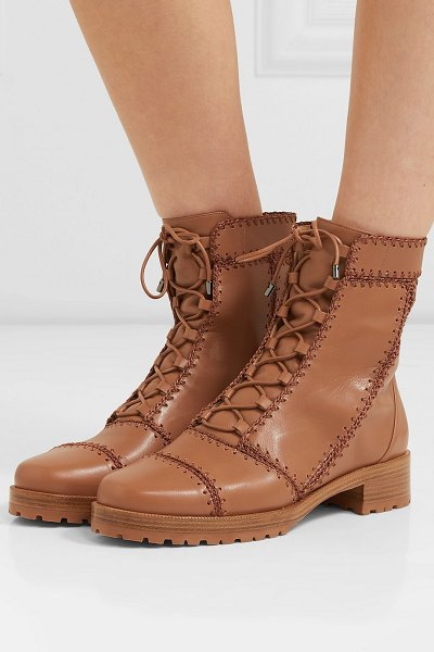 Alexandre Birman whipstitched leather ankle boots in tan