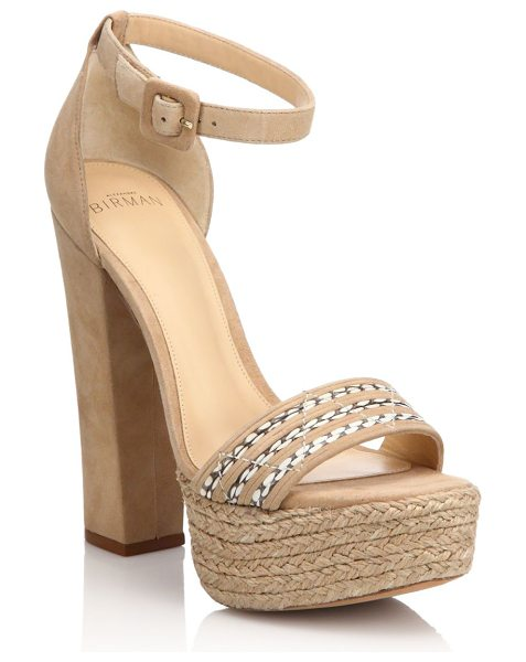 Alexandre Birman Woven-detail suede espadrille platform sandals in nude - Suede espadrille platform sandal with woven...