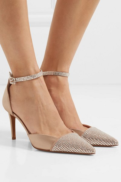 Alexandre Vauthier cindy crystal-embellished suede and satin pumps in beige