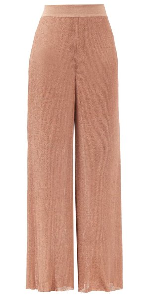 Alexandre Vauthier high-rise ribbed-lamé wide-leg trousers in pink