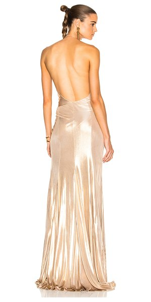 Alexandre Vauthier Jersey Crossover Halter Gown in metallics - 100% viscose.  Made in France.  Dry clean only. ...