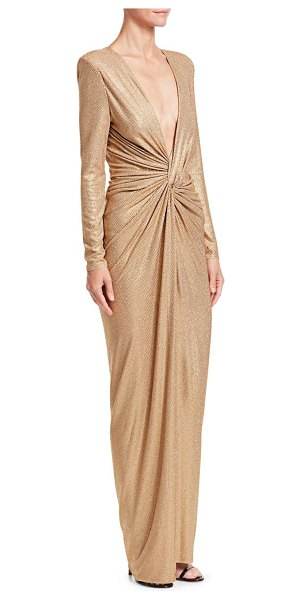 Alexandre Vauthier sparkly plunging column gown in fawn - Metallic shimmer highlights the chic, twist-knot design...
