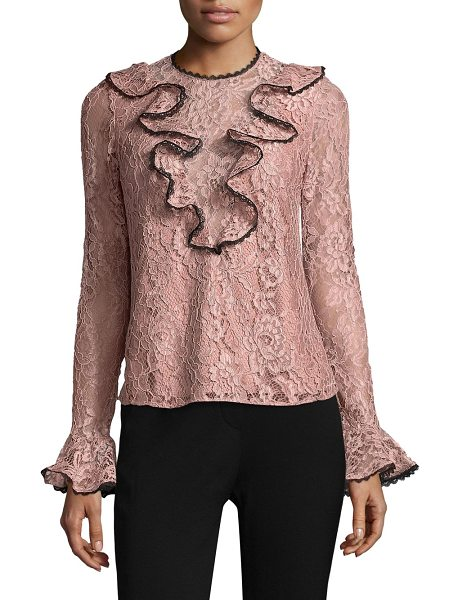 Alexis addie ruffled lace top in blush - EXCLUSIVELY AT SAKS FIFTH AVENUE. Lace top with front...