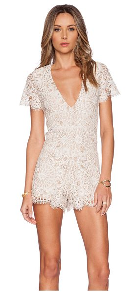 Alexis Alain lace romper in beige - Nylon blend. Hand wash cold. Lace fabric with scalloped...