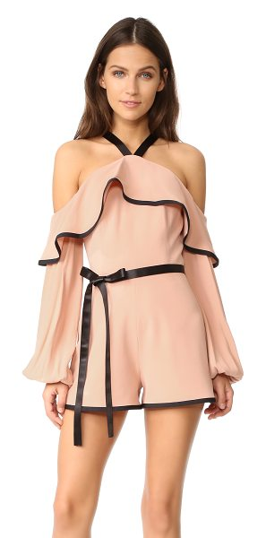 ALEXIS hanson romper - An open-shoulder neckline and draped flounce bring...