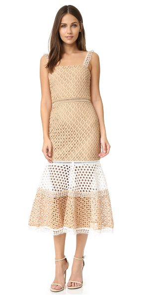 Alexis Alexis Erin Dress in tan - Tiers of texture rich lace compose this mid length...