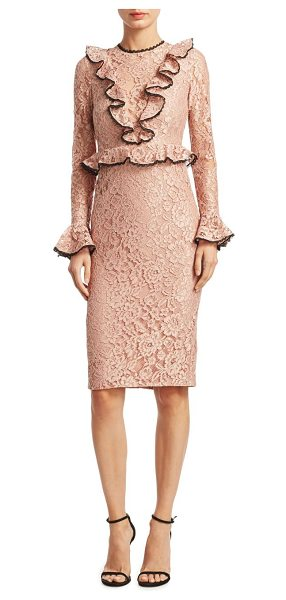 Alexis mariette lace sheath dress in blush - Clasicc top finished with ruffled and scalloped trim...