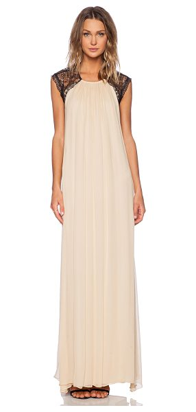 Alexis Gela Open Back Gown in beige - Self: 100% silkCombo: 100% nylonLining: 100% poly. Dry...