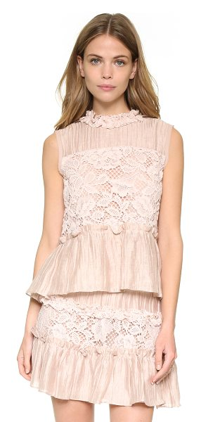 Alexis Gracilia top in blush - Delicate faille and lace lend a feminine feel to this...