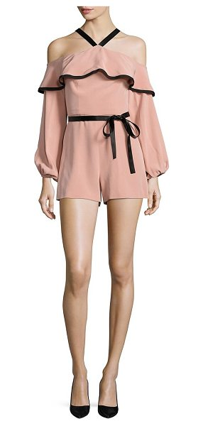 Alexis hanson cold-shoulder ruffle romper in dusty rose - Shoulder-baring romper with flounced ruffle trim. Halter...