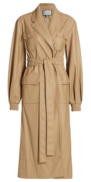 Alexis hunter leatherette coat in taupe