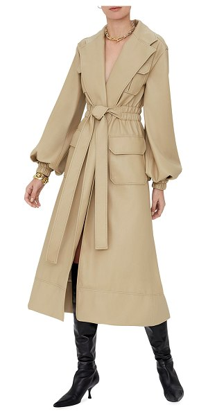Alexis Hunter Vegan-Leather Trench Coat in taupe