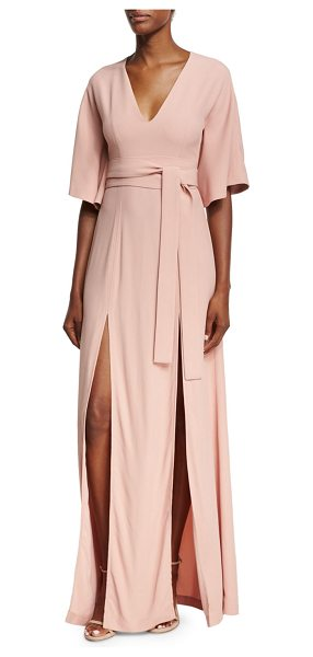 Alexis India V-Neck Slit Front Maxi Dress in pink