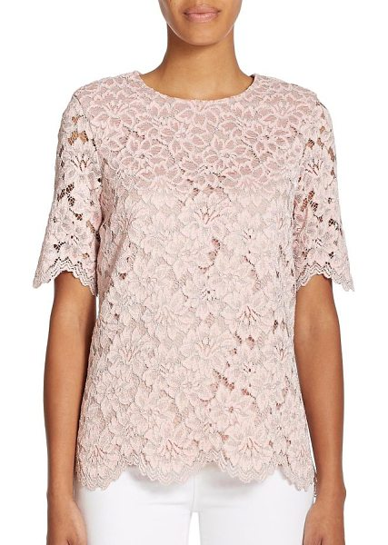 Alexis Iris lace top in pinklace - EXCLUSIVELY AT SAKS. An eye-catching hue and split-back...