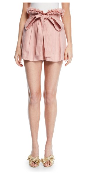 Alexis Jolan Pleated Linen Shorts in pink