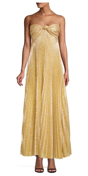 Alexis joya strapless sweetheart lame pleated a-line dress in gold lame - Glamorous lamefinish accentuates structural pleats on...