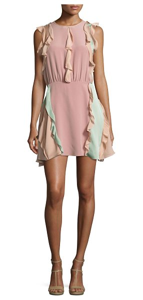 "ALEXIS Keely Colorblock Ruffle Mini Dress - Alexis ""Keely"" dress in pastel colorblock crepe with..."
