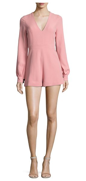 "Alexis Kourtney Long-Sleeve Romper in ash pink - Alexis ""Kourtney"" romper in crepe. V neckline. Long..."