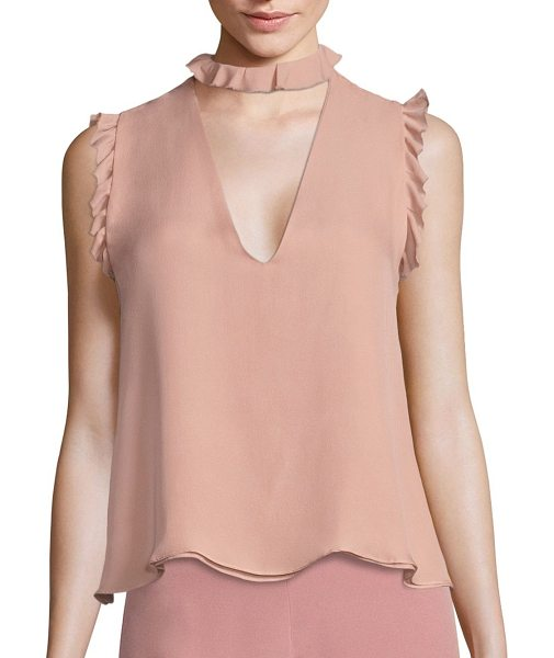 Alexis lilibeth ruffled silk choker tank top in rose - Solid staple designed with feminine ruffles. Choker neck...
