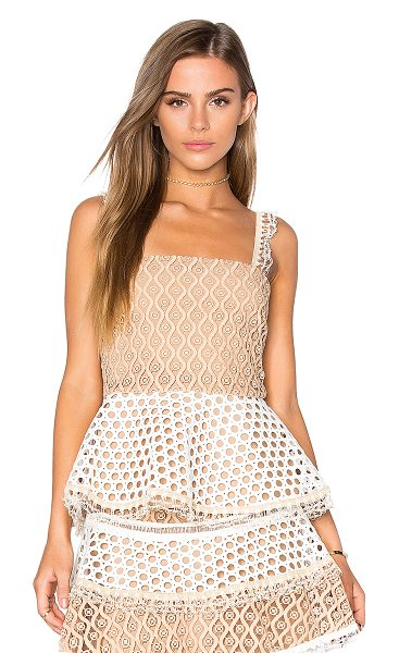 ALEXIS Lindor peplum top - Self, Combo & Lining: 100% poly. Dry clean only. Lace...
