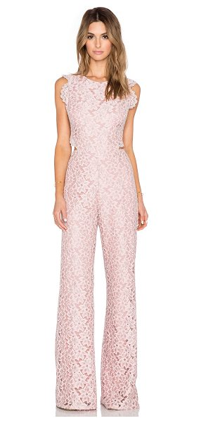Alexis Livia lace jumpsuit in pink - Self: 63.4% nylon 36.6% polyLining: 100% poly. Dry clean...