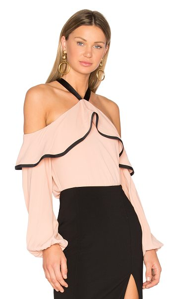 Alexis Malia Top in dusty rose - A ruffled overlay top frames cold shoulders for the...