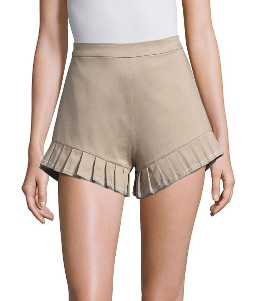 Alexis martens shorts in sand - Lightweight cotton shorts with pleated hems. Back welt...