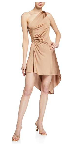 Alexis Mellie One-Shoulder High-Low Dress in tan