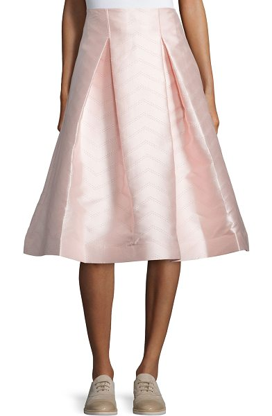 "Alexis Paola a-line midi skirt in light pink - Alexis ""Paola"" midi skirt in satin with pointelle-knit..."