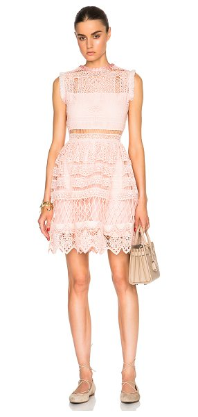 Alexis Sage Dress in pink - 100% poly.  Made in China.  Fully lined.  Eyelet crochet...
