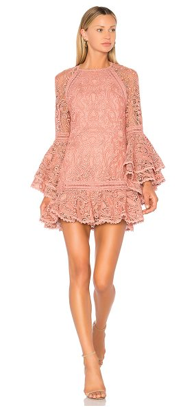 Alexis Veronique Dress in mauve - Romance on a whim. Intricate lace delicately shapes this...
