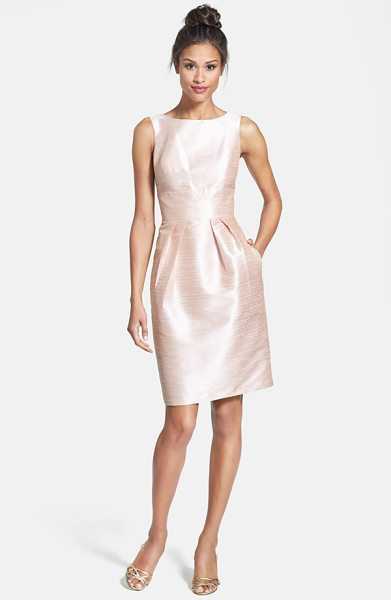 Alfred Sung boatneck sheath dress in pearl pink - A silky dupioni weave with subtle polish tailors a...