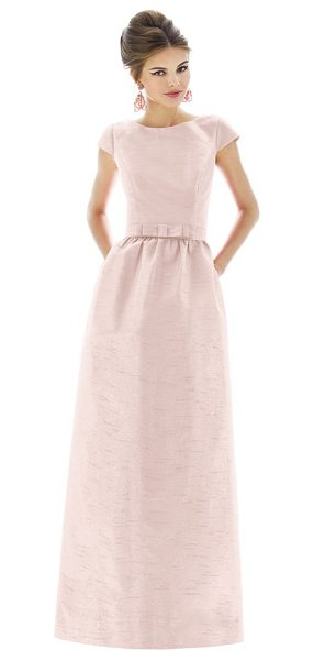 Alfred Sung cap sleeve dupioni full length dress in pearl pink - In a timeless and universally flattering silhouette, a...