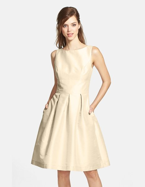Alfred Sung dupioni fit & flare dress in champagne - Creating a timeless and universally flattering...