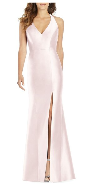 Alfred Sung Halter Gown with Thigh-Slit in blush