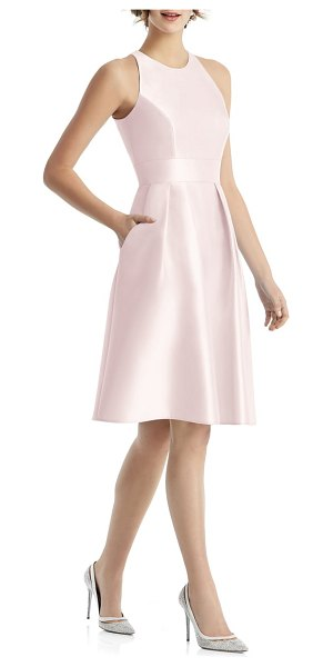 Alfred Sung high neck satin cocktail dress in pink - Fitted with precise seaming at the bodice and flared...