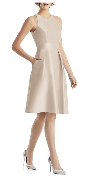 Alfred Sung high neck satin cocktail dress in beige