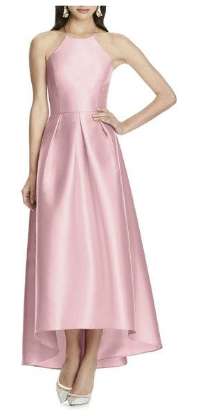 Alfred Sung high/low hem sateen halter dress in blossom - A luminous gown of sateen twill is timelessly elegant...